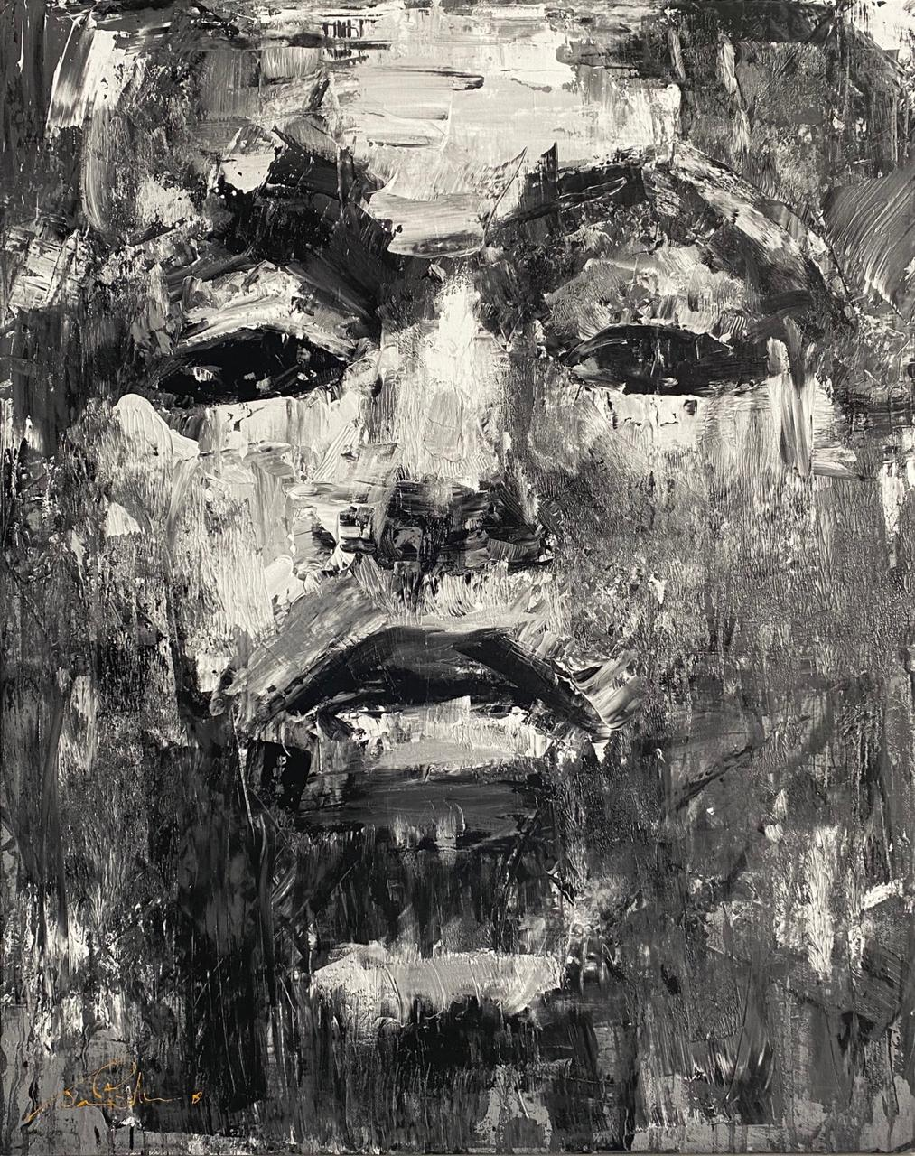 Ek sien (I see) - Black & White Medium: Oil on canvas 410x325 Canvas print R1700 410x325 Canvas print stretched R2200 700x550 Canvas print R2000 700x550 Canvas print stretched R2500